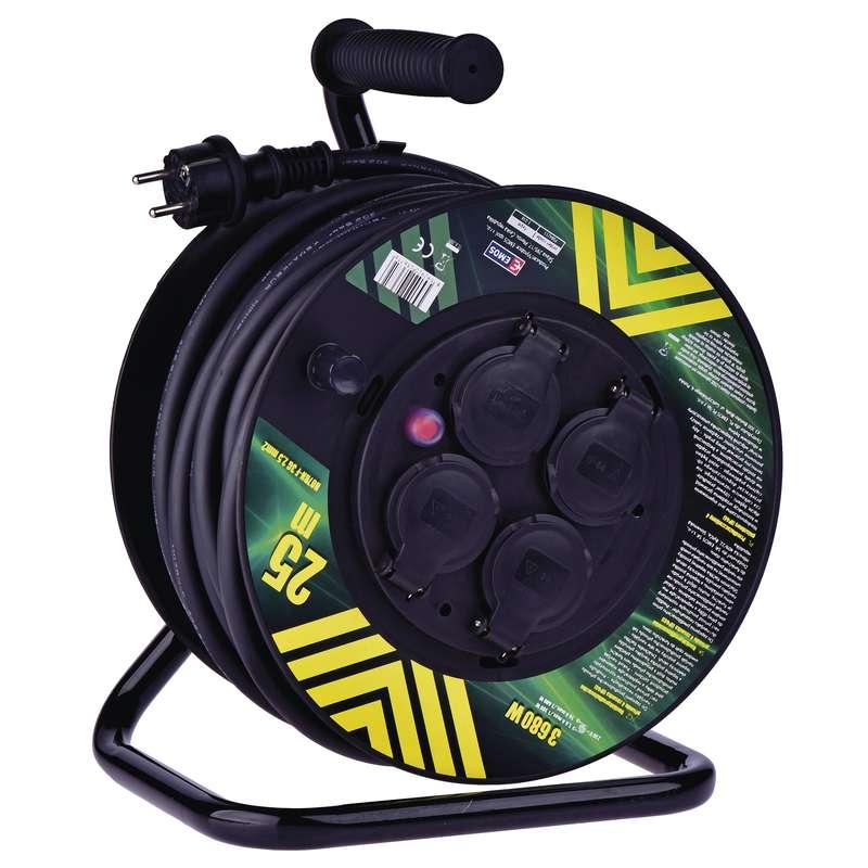 Gumový prodl. kabel na bubnu - 4 zásuvky 25m 2,5mm