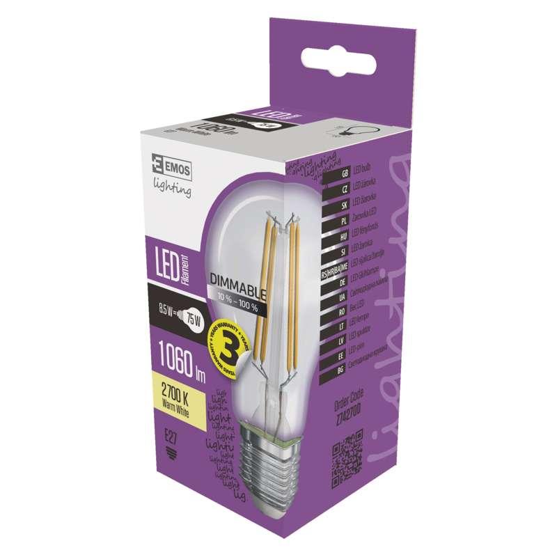 LED žárovka Filament A60 8,5W E27 teplá bílá, stmívatelná
