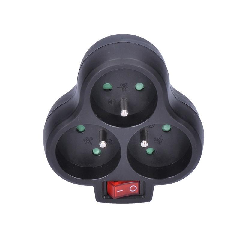 Solight rozbočka, 3 x 10A, černá, vypínač