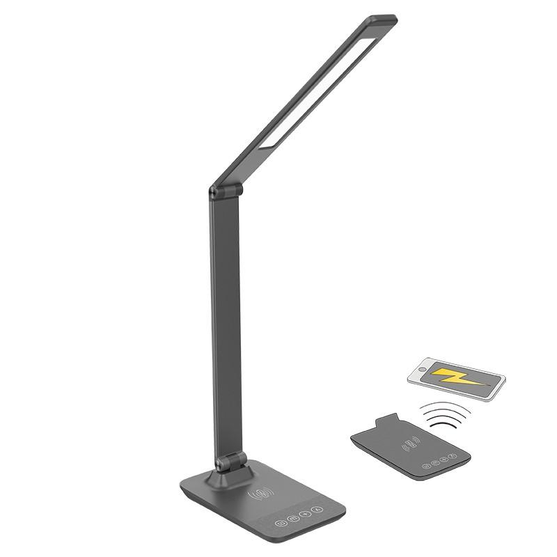 Solight LED stmívatelná lampička s bezdrátovým nabíjením, změna chromatičnosti, šedá