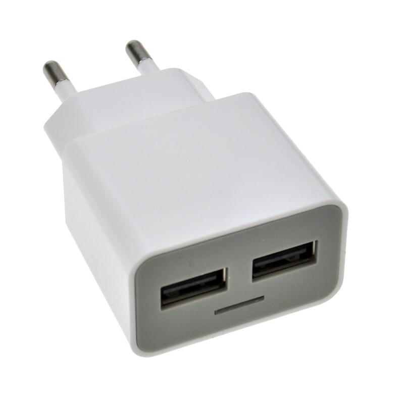 Solight USB nabíjecí adaptér, 2x USB, 2400mA max., AC 230V, bílošedý