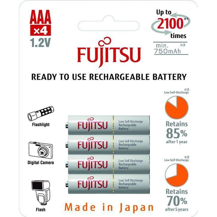 Fujitsu přednabitá baterie White R03/AAA, 2100 nabíjecích cyklů, blistr 4ks