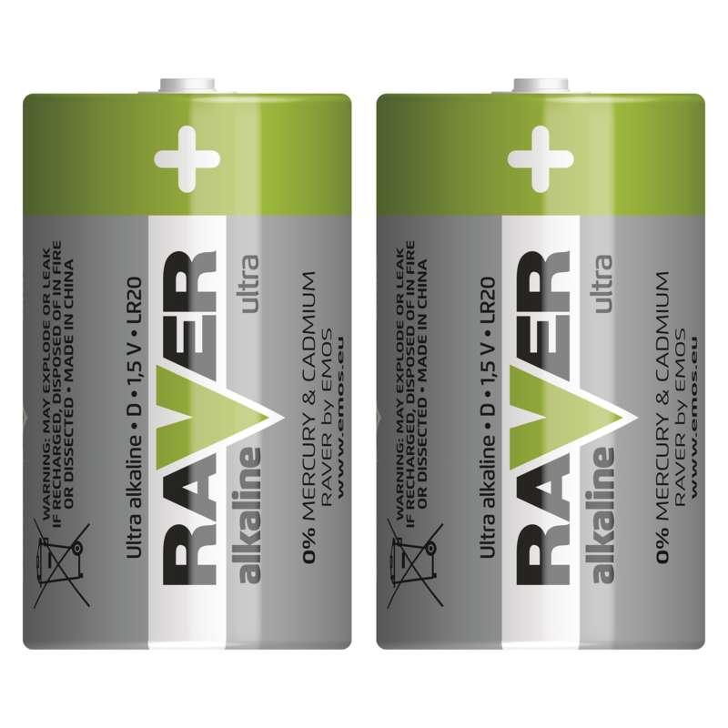 Alkalická baterie RAVER LR20 (D), blistr